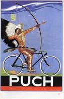 PUCH, F. ZWICKL, PUCHWERKE A. G., GRAZ, WIEN, INDIAN ON BICYCLE, INDIANER AUF FAHRRAD, ORIGINAL - Werbepostkarten