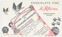 Buvard 18.2 X 10.9 Chocolats Fins LE RHONE à Vernaison Rhône Grand Concours Des Cigognes Magiques - Cocoa & Chocolat