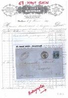 68 - HAUT RHIN - F-68-2 -MULHOUSE - Lettre Commerciale S.LIBS - HUILERIE - Généalogie - 1863 - Francia