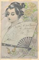 J93 - Illustrateur Gaston Noury - Femme Art Nouveau - Japon - Éventail - Other Illustrators