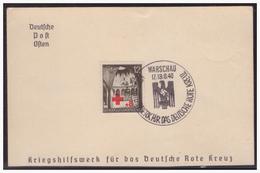 GG (003988) Gedenkkarte Deutsche Post Osten, Kriegshilfswerk Für Das Deutsche Rote Kreuz, MNR 52 Mit SST Warschau - Occupation 1938-45