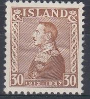 +M315. Iceland 1937. King Christian Jubilee. Michel 188. MH(*) - Nuovi