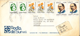 Argentina Registered Cover Sent To Denmark 1986 With More Flower Stamps - Argentina