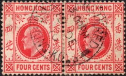 KEVII Pair Of  4c Stamps - With GPO HONG KONG REGISTERED CDS POSTMARK Dated 3PM DEC 19 1910 - Hong Kong (...-1997)