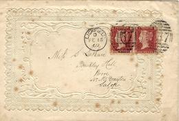 1869- Enveloppe Gaufrée +  ( Lover Card )    De LICHFIELD ( Avec Carte Intérieure ) - 1840-1901 (Regina Victoria)