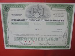 ITT International Téléphone Et Télégraphes 1977 4,5$ Série 1 - Shareholdings
