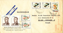 Argentina Registered Cover Sent To Denmark 1984 With More Flower Stamps And Red Meter Cancel (a Tear In The Left Side Of - Argentina