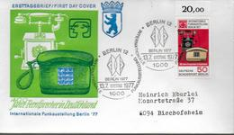 ALLEMAGNE  BERLIN   FDC 1977  Telephone Telecommunication - Telecom