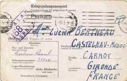 POSTKARTE Kriegsgefangenpost) STALAG 168 XVII  GEPRUFT  Vers Castelnau Medoc Gironde - Guerre 1914-18