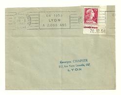 RHONE - Dépt N° 69 = LYON CROIX ROUSSE 1957 =  FLAMME  RBV   '1958 / 2.000 Ans' + Coin Daté MARIANNE MULLER - Postmark Collection (Covers)