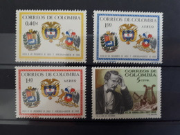 Timbres Colombie : 1966 YT N° 1069, 1083, 1084, 1085  NEUF**  & - Colombia