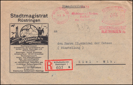 AFS WILHELMSHAVEN-RÜSTRINGEN Stadtmagistrat Rüstringen 9.8.34, R-Brief Nach Kiel - Médecine