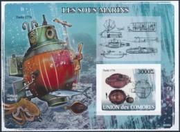 D - [39626]TB//ND/Imperf-c:21e-Comores 2008 - BL121, Premiers Sous-marins, Turtle 1776. - Submarines