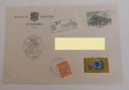 ANDORRE 1982 - Lettre Recommandée Andorre La Vella Vers La France / N° YT 245 Gentiane PA8 Inclès / Sticker / Batllia - Andorra Francese