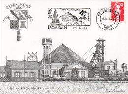 ESCAUDAIN : MINE Et MINEUR Oblitération PJ FLAMME Sur Carte Postale - Berufe