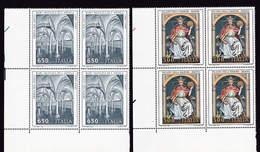1989 Italia Italy Repubblica ARTE PADOVA BARI ART 4 Serie Di 2v. MNH** In Quartina Bl.4 - 1981-90: Mint/hinged