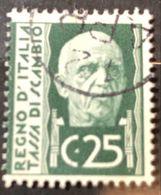 Marche Da Bollo Usate Tassa Di Scambio 25 Cent Fra.1593 - 1900-44 Vittorio Emanuele III
