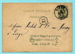Postkaart, Afst. LIEGE 06/04/1887, Afz.: J. Baras -- Afbeelding KOFFIEMOLEN / MOULIN A CAFé - Cartoline [1871-09]