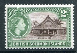 British Solomon Islands 1956-63 QEII Pictorials - Wmk. Script CA - 2d Canoe House MNH (SG 85) - Isole Salomone (...-1978)