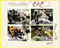 Bloc Oblitéré De 4 Timbres-poste - Cyclisme Tour D'Italie Cipollini Moser Merckxx De Vlaeminck - Guinée-Bissau 2009 - Guinée-Bissau