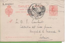 Postkarte Postal Stationery Numbered 10c Alphonse XIII From Madrid To Madrid 19/10/20 - Interi Postali
