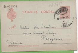 Postkarte Postal Stationery Numbered 10c Alphonse XIII From Pamplona To Bayonne 14/09/19 - Interi Postali