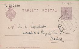 Postkarte Postal Stationery Numbered 15c Alphonse XIII From Soria To Madrid 30/10/20 - Interi Postali