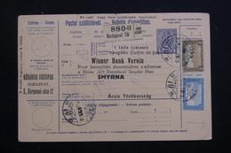 HONGRIE - Bulletin De Colis Postal De Budapest Pour Smyrne En 1917, Affranchissement Plaisant - L 60812 - Paketmarken