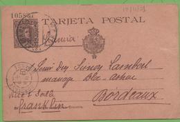 Postkarte Postal Stationery Numbered 10c Alphonse XIII To Bordeaux 12/11/01 - Interi Postali