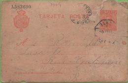 Postkarte Postal Stationery Numbered 10c Red Alphonse XIII To Bayonne 1904 - Interi Postali
