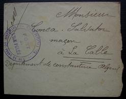 Cherbourg Fort De L'île Pelée Artillerie Du Front De Mer,  1915 Enveloppe Pour La Calle (Algérie) - Guerra Del 1914-18
