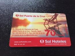 Hotelkarte Room Key Keycard Clef De Hotel Tarjeta Hotel   SOL PUERTA DE LA CRUZ CASINO - Sin Clasificación