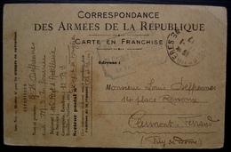 Fougères (Ille Et Vilaine) 1917 106e Régiment D'artillerie Lourde 7eme Groupe Des Batteries, Carte En Franchise - Marcofilia (sobres)