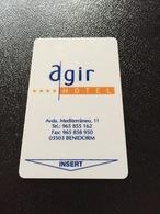 Hotelkarte Room Key Keycard Clef De Hotel Tarjeta Hotel  AGIR  BENIDORM  CASINO MEDITERRANEO - Sin Clasificación