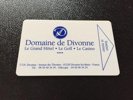 Hotelkarte Room Key Keycard Clef De Hotel Tarjeta Hotel   DOMAINE DE DIVONNE LE GRAND HOTEL CASINO - Sin Clasificación
