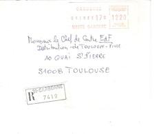 Vignette MOG Guichet HAUTE GARONNE 1982 CARBONNE LETTRE RECOMMANDEE EINSCHREIBEN REGISTERED COVER - 1981-84 LS & LSA Prototypes