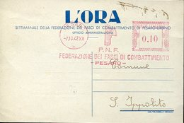 54519 Italia, Red Meter Freistempel Ema,  1942 Pesaro PNF Fasci Combattimento - Affrancature Meccaniche Rosse (EMA)