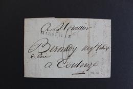 1802 LAC MARSEILLE 12 MARQUE LINEAIRE LETTRE POUR TOULOUSE DATEE  (THERMIDOR AN X) TAXE MANUSCRITE 6 DECIMES - 1801-1848: Précurseurs XIX