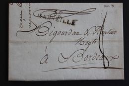1801 LAC MARQUE LINEAIRE MARSEILLE 12  LETTRE REPUBLICAINE DATEE DU 12 THERMIDOR AN IX, POUR BORDEAUX.. - 1801-1848: Précurseurs XIX