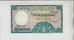 AB152 National Commercial Bank Of Scotland Ltd £5 Note 3 January '61 #G829208 - 5 Pounds