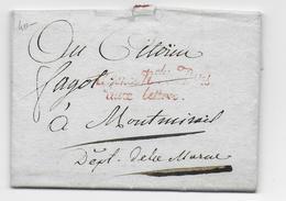 AN 3 (1795) - LETTRE En FRANCHISE De L'AGENCE NATIONALE Des POSTES AUX LETTRES - RARE IND 22  !!  => MONTMIRAIL (MARNE) - Marcofilia (sobres)