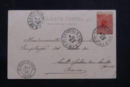 BRÉSIL - Affranchissement De Sao Paulo Sur Carte Postale Pour La France En 1903 - L 60874 - Briefe U. Dokumente