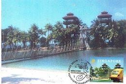 30a:  CM, Carte Maximum Card,Singapore Sentosa Island Suspension Bridge,pedestrian Foot Bridge, Maxicard MC - Bridges