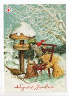 Postal Stationery RED CROSS - FINLAND - CHRISTMAS - GNOME & BIRDS - STAMP BIRD / BULLFINCH - USED 2009 - INGE LÖÖK - Finland
