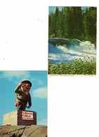 2 Different FLIN FLON, Manitoba, Canada, Wekuso Falls Flintabbatey Flonatin, Old 4X6 Chrome Postcards - Other