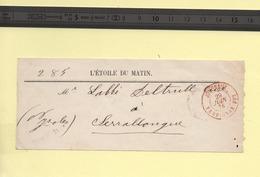 "Bande De Journal  29 Juin 1876 Cachet Rouge ""Journaux Perpignan"" - Postmark Collection (Covers)"