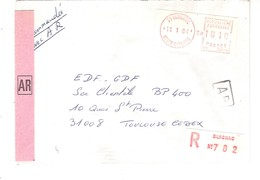 Vignette MOG Guichet HAUTE GARONNE 1984 BLAGNAC LETTRE RECOMMANDEE EINSCHREIBEN REGISTERED COVER AR - 1981-84 LS & LSA Prototypes