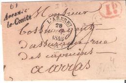 Pas De Calais :- Cursive 61 Avesnes Le Comte Taxe 2 Manuscrite Dateur Type 14 De L'arbret Ind.13 = 100 € - Marcophilie (Lettres)