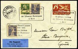 Schweiz Suisse: 1.FLUGPOST BASEL- LUZERN 28.Mai 1926 Zur Mustermesse Mit Zu. F3+K21 Mi 179+K20 Yv PA3 (Zu CHF 22.50) - Poste Aérienne