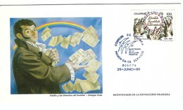 BICENTENAIRE DE LA REVOLUTION FRANCAISE 1789-1989: FDC De Colombie, Obl. De 'Exposition ''Philexfrance '89''  TTB - French Revolution